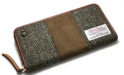 JAM HOME MADE SHEEP ZIP LONG WALLET BROWN -Harris Tweed-