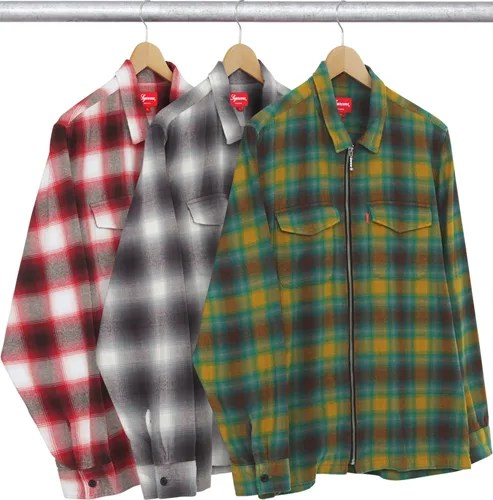 9 19 supreme 2015 f w nike for Zip front flannel shirt