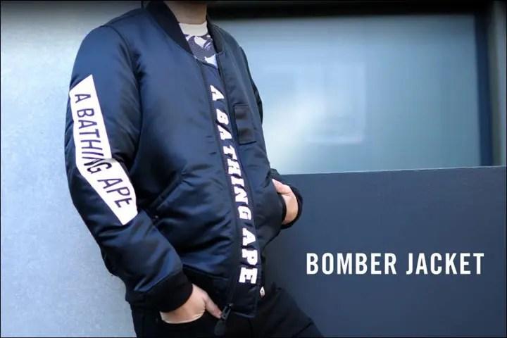 A BATHING APEからブランドロゴをシリコンラバープリントで仕上げた「BOMBER JACKET」が1/23発売!(エイプ)