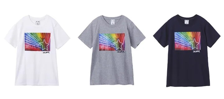 X-girlからレインボー ネオン管 フォトプリント「NEON STAR S/S TEE」が発売! (エックスガール)