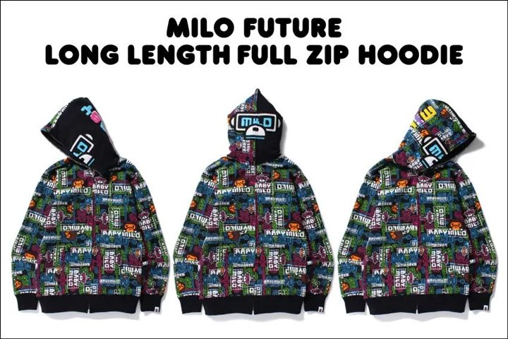 A BATHING APEから近未来的なBABY MILOの2016 SPRING/SUMMER新柄「MILO FUTURE」で仕上げた「MILO FUTURE LONG LENGTH FULL ZIP HOODIE」が2/20発売!(エイプ)