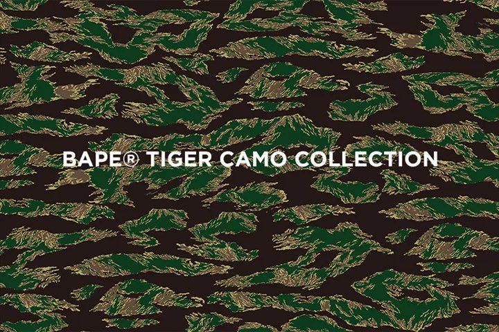 3/19からA BATHING APEからオリジナルタイガーストライプカモフラージュ柄の「TIGER CAMO COLLECTION」アイテムが発売!(エイプ)