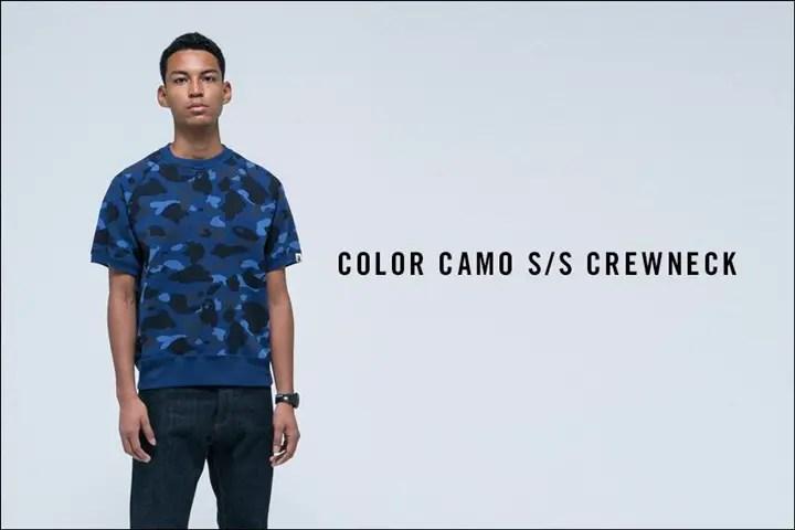 A BATHING APEから鮮やかなCOLOR CAMOで仕上げた半袖のクルーネック「COLOR CAMO S/S CREWNECK」が4/30発売!(エイプ)