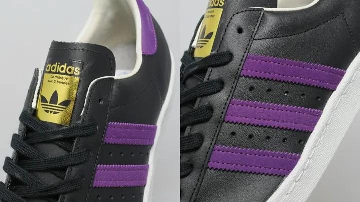 """アディダス オリジナルス スーパースター 80s """"ブラック/パープル"""" (adidas Originals SUPERSTAR 80s """"Black/Purple"""") [BB3718]"""