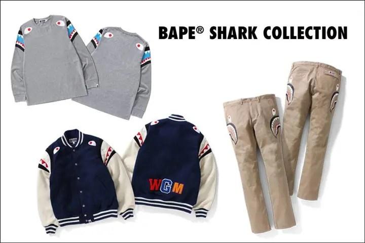 A BATHING APEを代表するデザインであるSHARKモチーフのアイテムの数々がBAPE SHARK COLLECTIONとして9/17発売!今回はVARSITY JACKETやチノパンが! (エイプ)