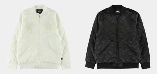 STUSSYから光沢感のあるサテン地にダイヤのキルティング加工を施したトーナルカラーの中綿ブルゾン「Satin Palm Jacket」が発売! (ステューシー)