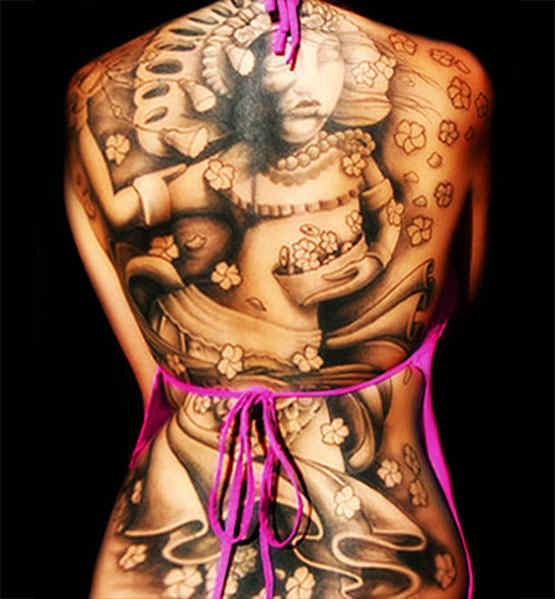 girl back full tattoo