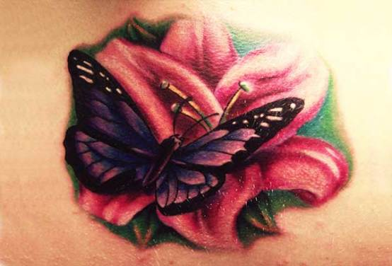 Butterfly and flower tattoo designs
