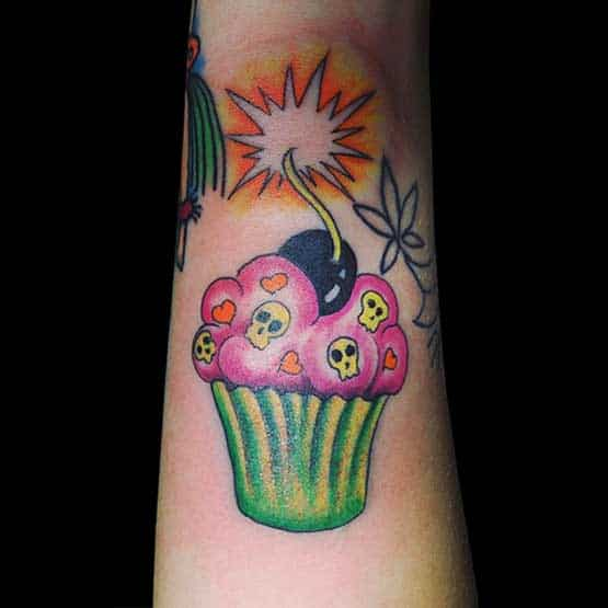 Cup Cake Tattoo Girls Arm