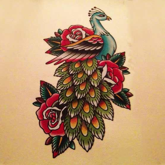 Old School Peacock Tattoo Designs