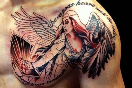 angel lettering tattoo designs