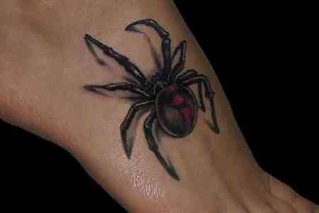 cool 3d spider tattoo designs on foot