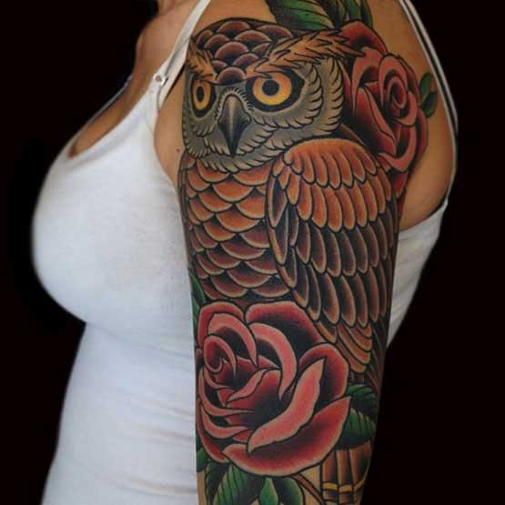 Half Sleeve Owl Tattoo Designs