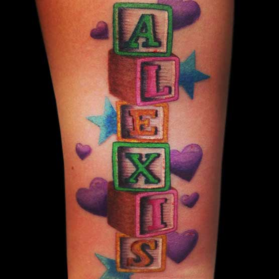 Name Tattoos With Color