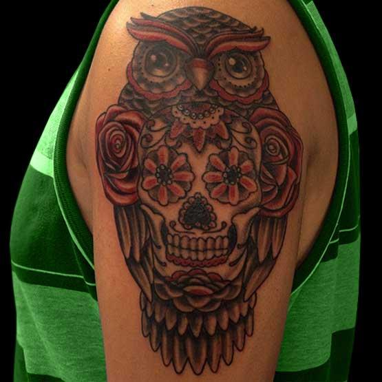 Sugar Skull Owl Tattoo Designs