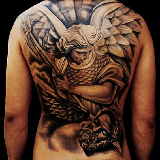 Full Back Religious Tattoo Designs For Men