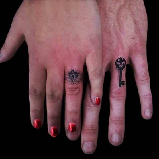 Key Interlocking Ring Tattoo Designs