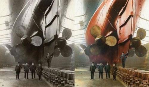 """Taken in Canada Dock in Liverpool, 1909. The gentleman in uniform is """"Mauretania's"""" first Chief Engineer, John Currie."""