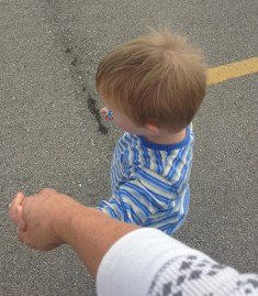 Walking safely in public area with my son. #downsyndrome #funhappinessandlife #practice