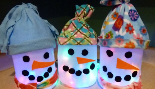Kid Made Snowman Lantern – Recycle Art