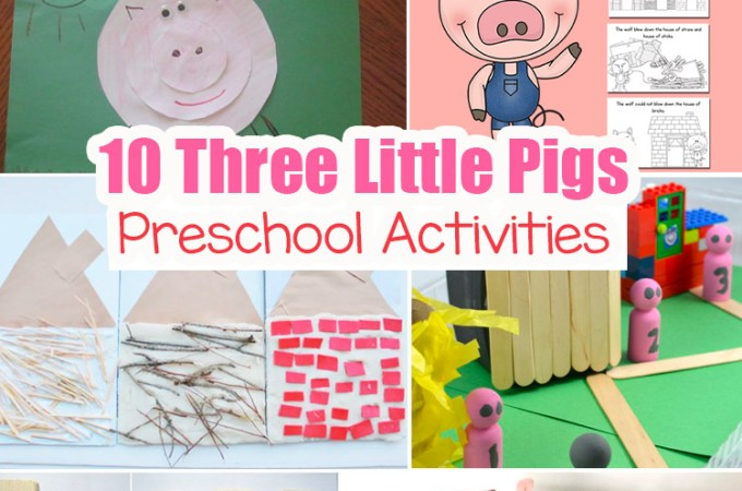 Three Little Pigs Preschool Activities, sequencing, story retelling, cutting and printable houses