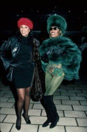 Beverly Johnson(L) and singer Grace Jones(R) during a night out on the town together in 1988