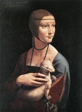 Portrait of Cecilia Gallerani (Lady with an Ermine), painted 1483-90 by Leonardo da Vinci (1452-1519)