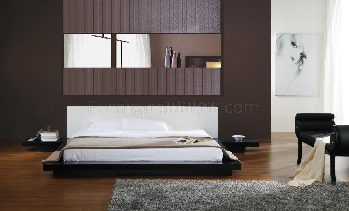 Smartly Black Gloss Finish Platform Bed Headboard Platform Bed Diy Platform Bed Canada houzz 01 Modern Platform Bed