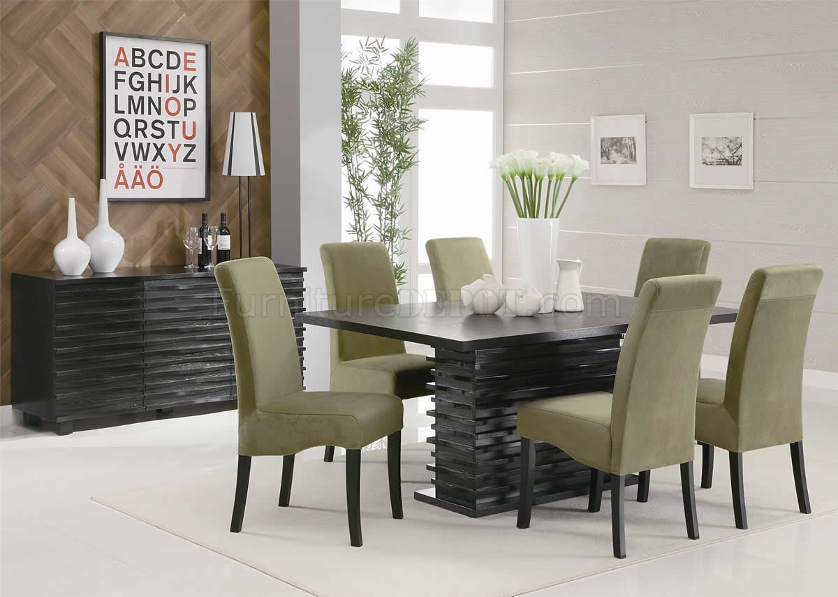 rich black finish modern dining table woptional chairs server p modern kitchen table