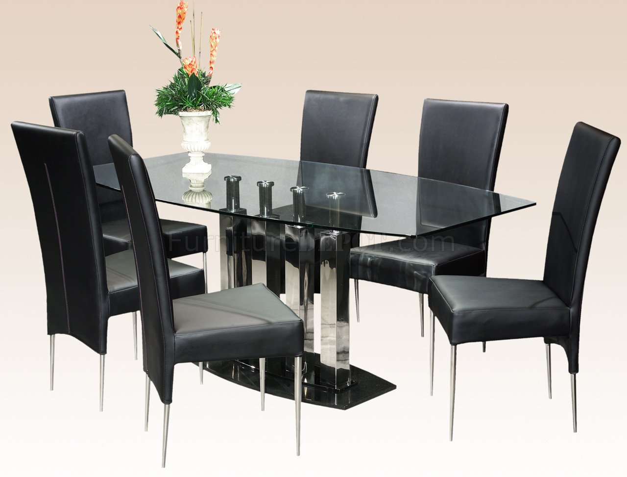 clear glass top steel base modern dining table woptional chairs p modern kitchen table sets