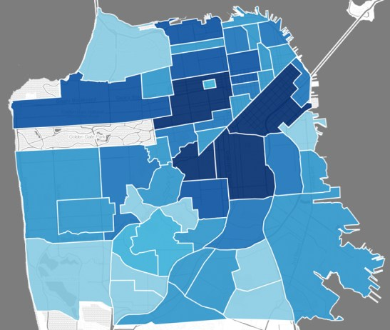 Choropleth of probability of bookings given a general query for San Francisco