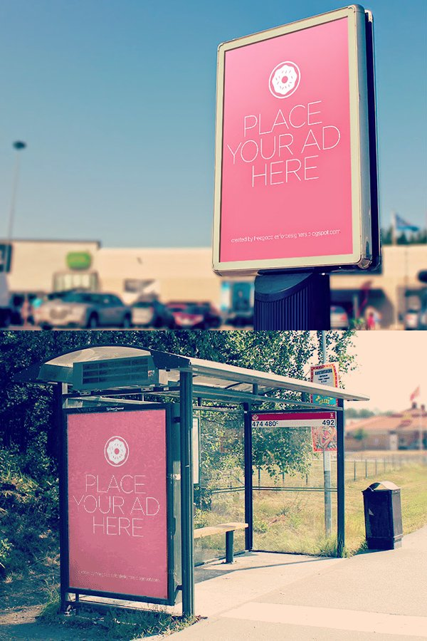 Free PSD City Outdoor Billboards Mockup