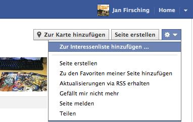Wie man Facebook Seiten zu Interessenslisten hinzufügen kann