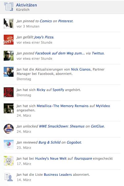 Prominentere Darstellung von Aktivitäten in der Facebook Chronik