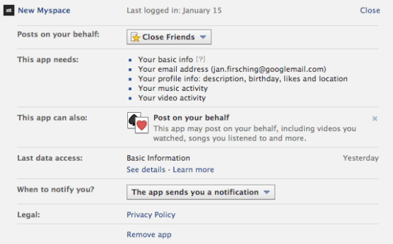 New MySpace - Facebook Login