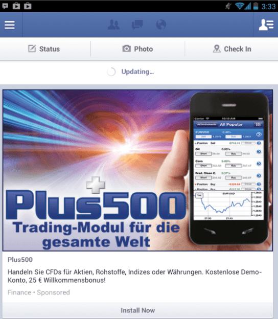 Facebook mobile Anzeigen