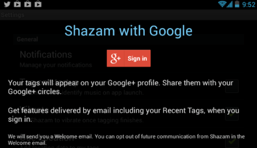 Google+ Log-In Shazam