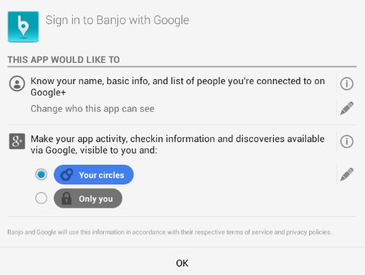 Google+ Permissions Banjo