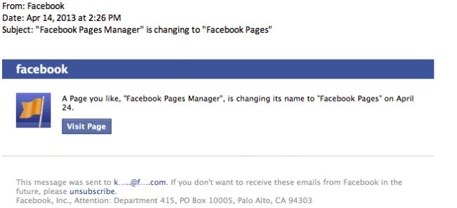 Facebook Seitennamen ändern - Bestätigungsmail
