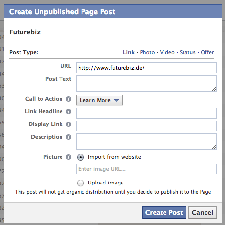 Facebook Call-for-Action Buttons - Erstellung Power Editor