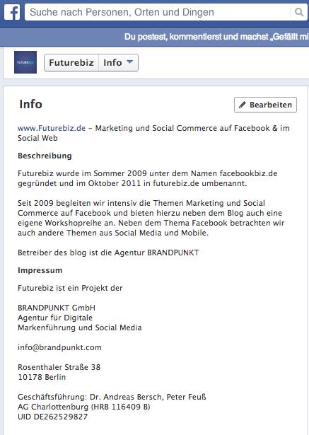 Facebook Seiten Impressum einrichten - Desktop