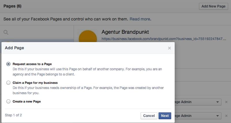 Facebook Business Manager  -  Seiten hinzufügen