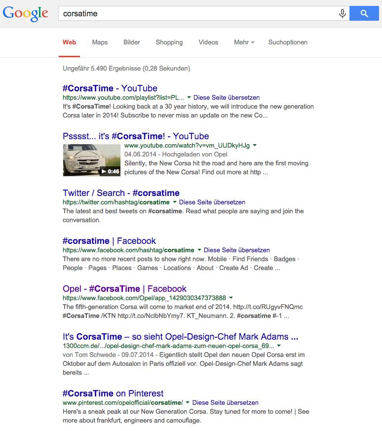 Hashtags und SEO - Suchergebnisse Google