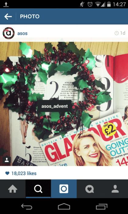 Instagram Adventskalender - Asos setzt auf Markierungen bei der Kommunikation des Adventskalenders