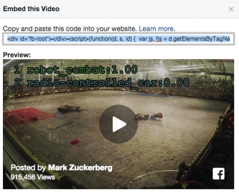 Facebook Videos auf Webseiten einbetten - Facebook EMbedded Video Player