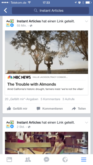 Facebook Instant Articles - Präsentation Im News Feed
