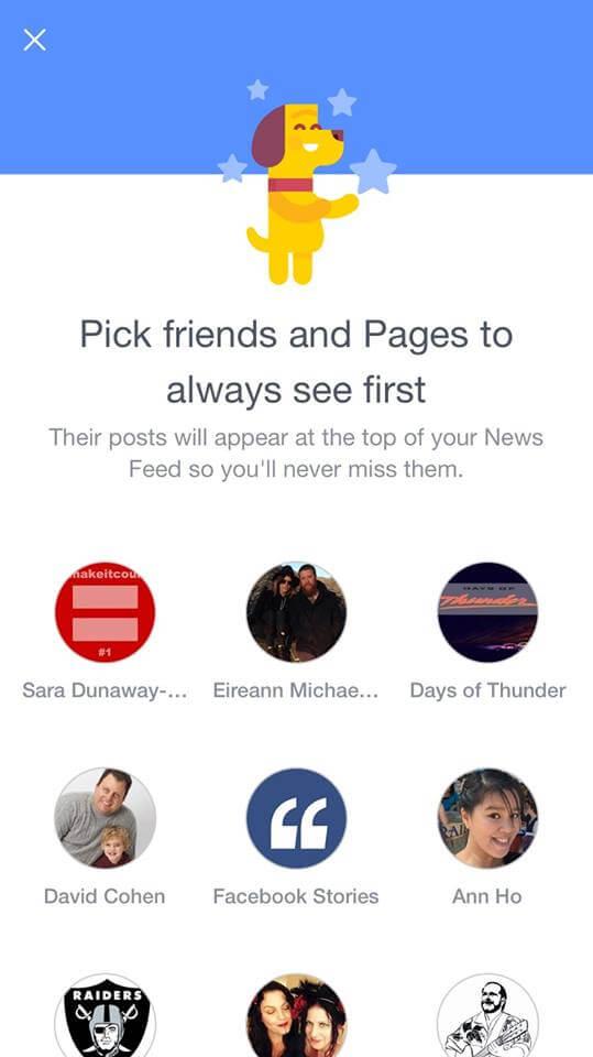 Facebook News Feed - Mehr Kontrolle für Nutzer. Auswahl von Inhalten.