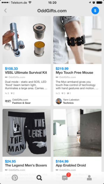 Social Commerce auf Pinterest - Feed mit Buyable Pins