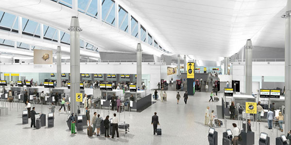 Artist rendition of the completed T2 LHR Star Alliance common checkin area