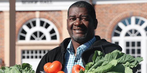 FVSU alum Brac Johnson with vegetables